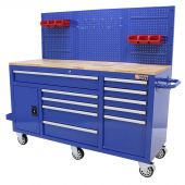 George Tools Mobile Workbench 62 inch with 10 drawers blue