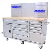 George Tools Mobile workbench 62 inch with 10 drawers Stainless steel