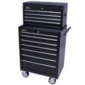 George Tools roller cabinet with chest 13 drawers black
