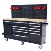 George Tools Mobile workbench 62 inch with 10 drawers black
