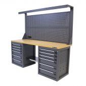 Kraftmeister workbench with back panel 12 drawers MDF 200 cm - grey