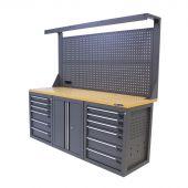 Kraftmeister workbench with back panel 12 drawers 2 doors MDF 200 cm grey