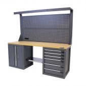 Kraftmeister workbench with back panel 6 drawers 2 doors MDF 200 cm - grey