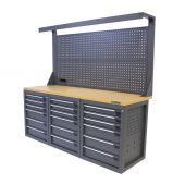 Kraftmeister workbench with back panel 18 drawers MDF 200 cm - grey