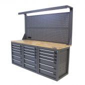 Kraftmeister workbench with back panel 18 drawers oak 200 cm - grey