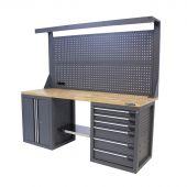 Kraftmeister workbench with back panel 6 drawers 2 doors Oak 200 cm grey