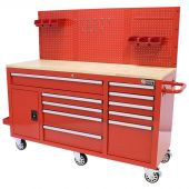 George Tools Mobile workbench 62 inch with 10 drawers red
