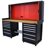 Kraftmeister workbench with back panel 12 drawers MDF 200 cm - black