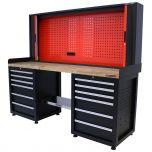 Kraftmeister workbench with back panel 12 drawers oak 200 cm - black