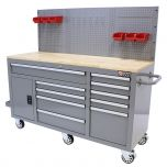 George Tools Mobile workbench 62 inch with 10 drawers grey